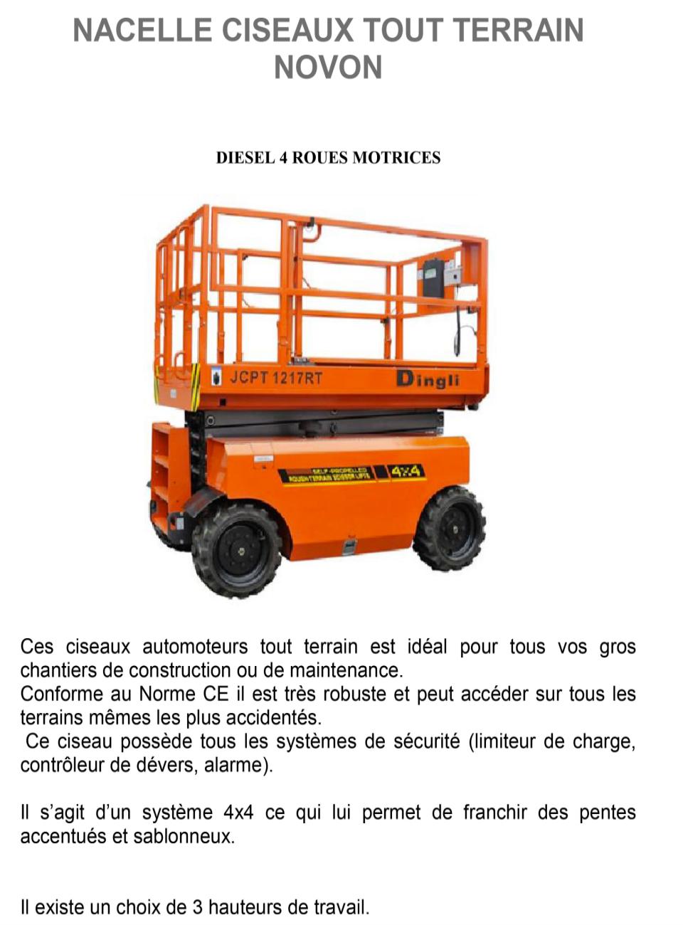 Plateforme Ciseaux Automoteur Tout Terrain